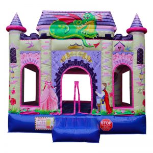 Front view of a pink and purple Princess themed inflatable.