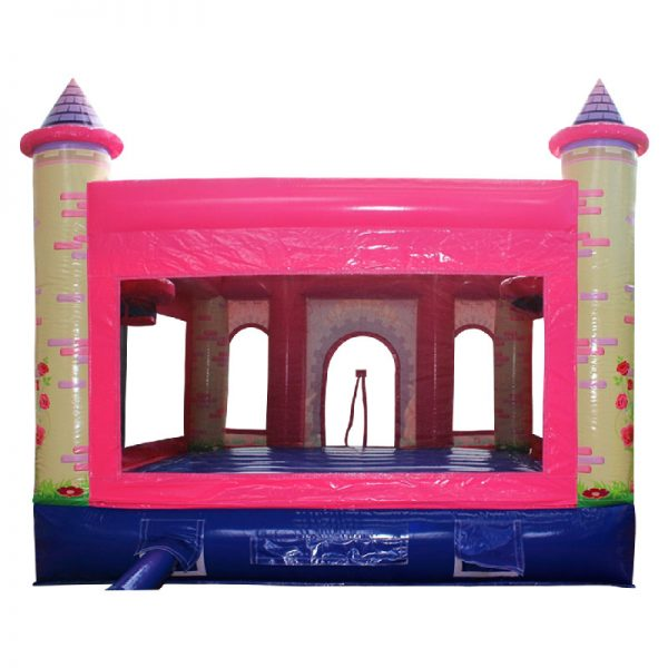 Rear view of a pink and purple Princess themed inflatable.