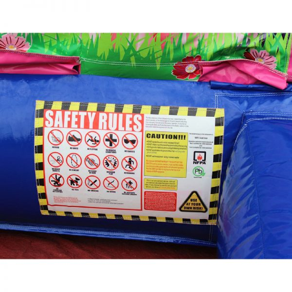 Safety rules on a bounce house.