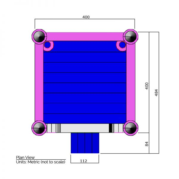 Bounce house plan view dimensions. Total length is 484 cm. and total width is 400 cm.