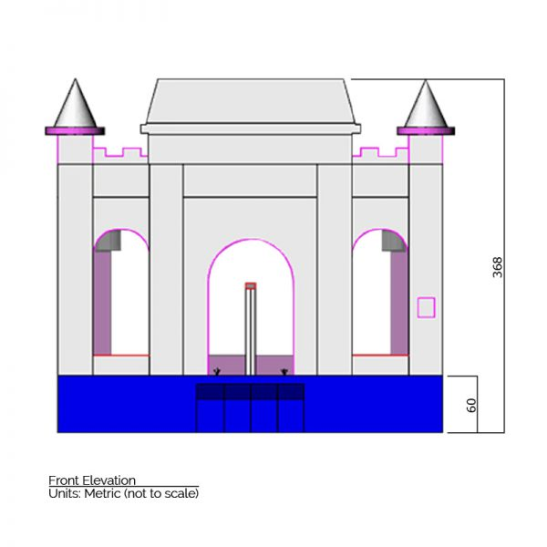Princess Bounce House front elevation dimensions. Total height is 368 cm.