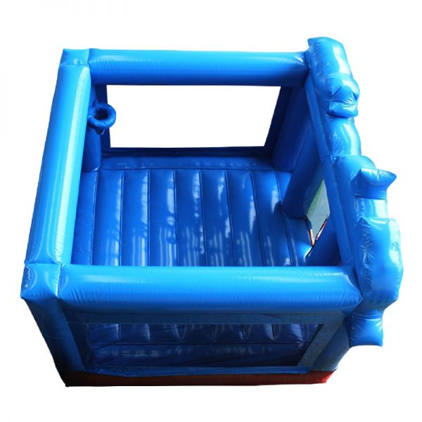 Birds eye view of a blue inflatable bouncy castle.
