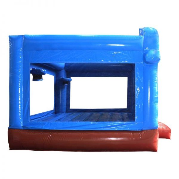 Side view of a blue inflatable bouncy castle.