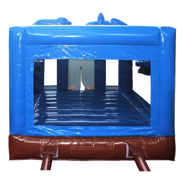 Rear view of a blue and brown inflatable bouncy castle.