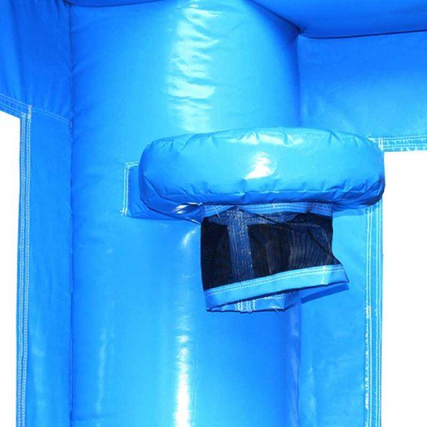 Blue Bouncy castle basketball hoop.