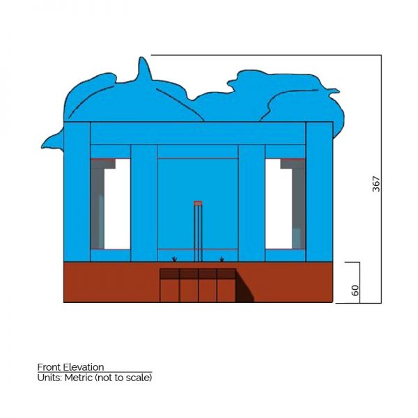 Sea Bounce House front elevation dimensions. Total height is 367 cm.