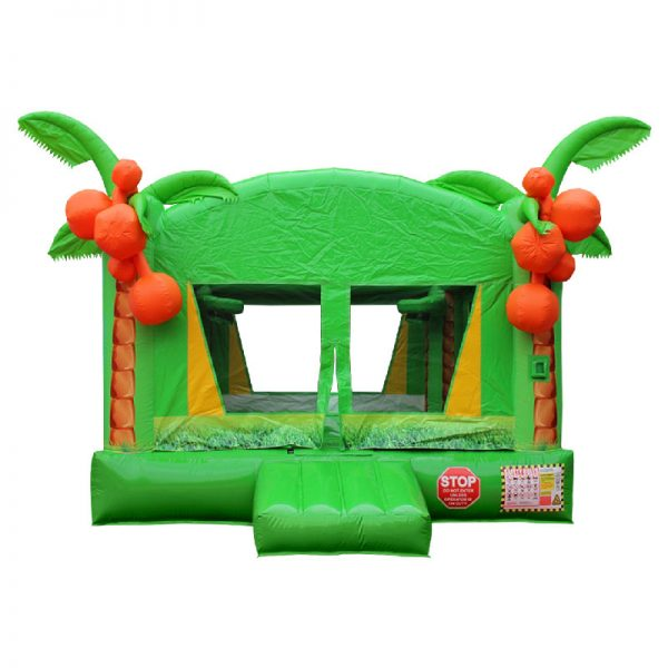 Front view of a green and yellow Tropical inflatable.