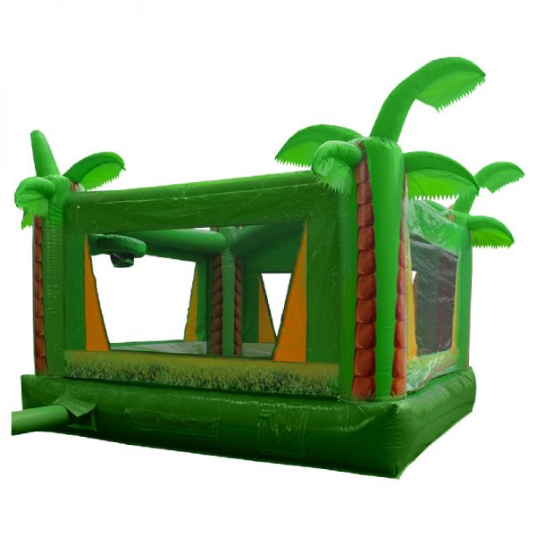 Rear view of a green and yellow Tropical inflatable.