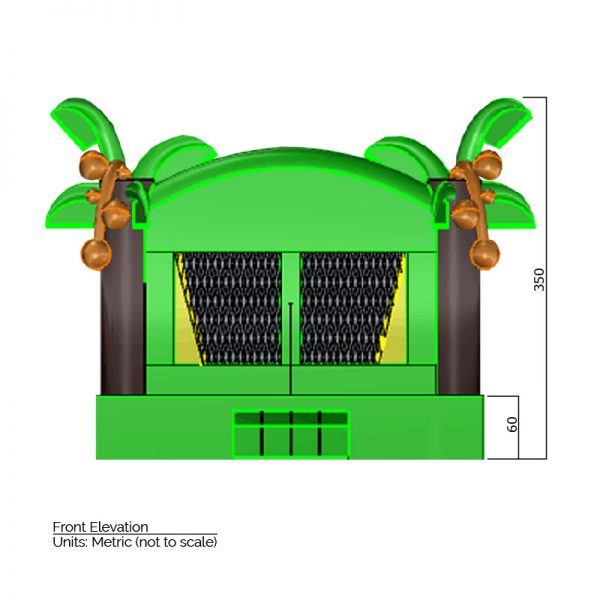 Tropical Bounce House front elevation dimensions. Total height is 350 cm.