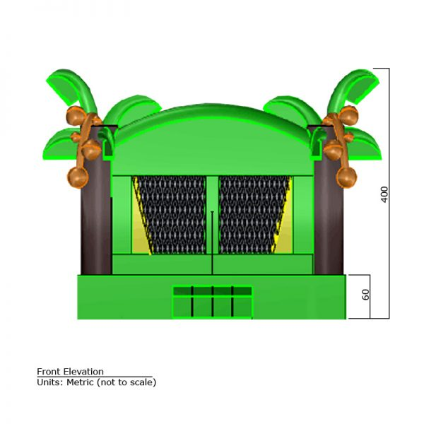 Tropical Bounce House front elevation dimensions. Total height is 400 cm.