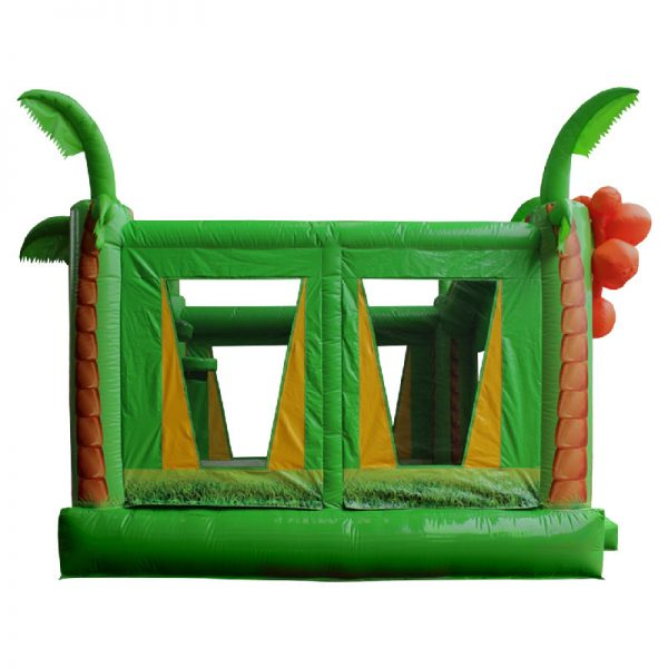 Side view of a green and yellow Tropical inflatable.