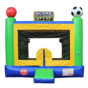 Yellow green and blue Sports bounce house.