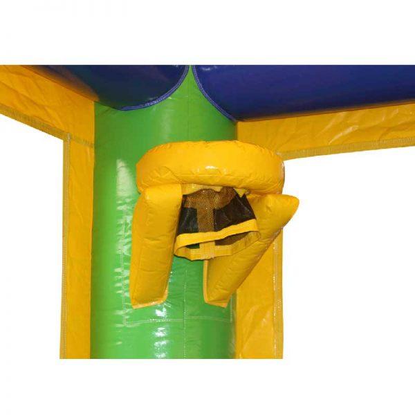 Sports bounce house basketball hoop closeup.