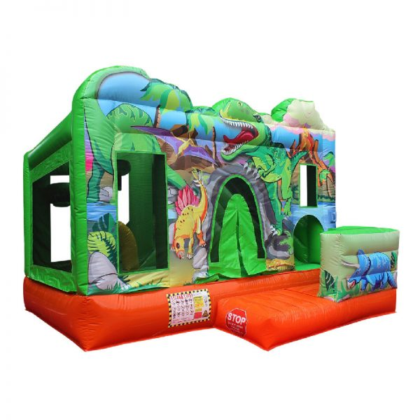 Front view of a Dino themed inflatable featuring dinosaurs like Tyrannosaurus, Brachiosaurus, Triceratops and Stegosaurus.