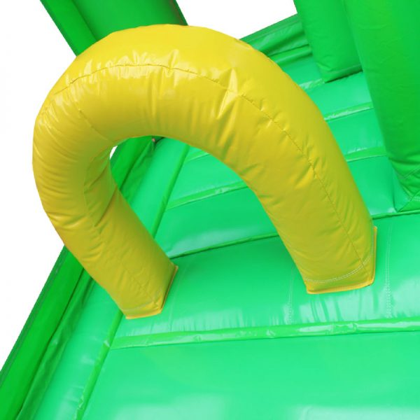 Yellow and green bouncy castle obstacle.
