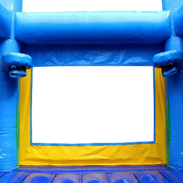 Blue bouncy castle basketball hoops with a black netting.