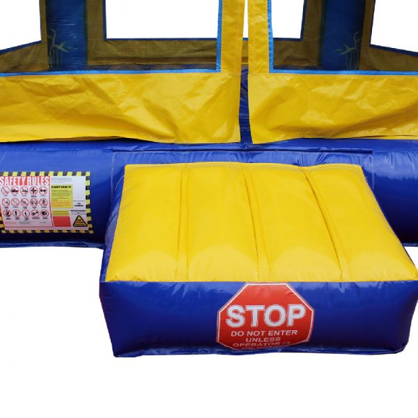 Blue and yellow inflatable bouncy casle entrance ramp closeup.