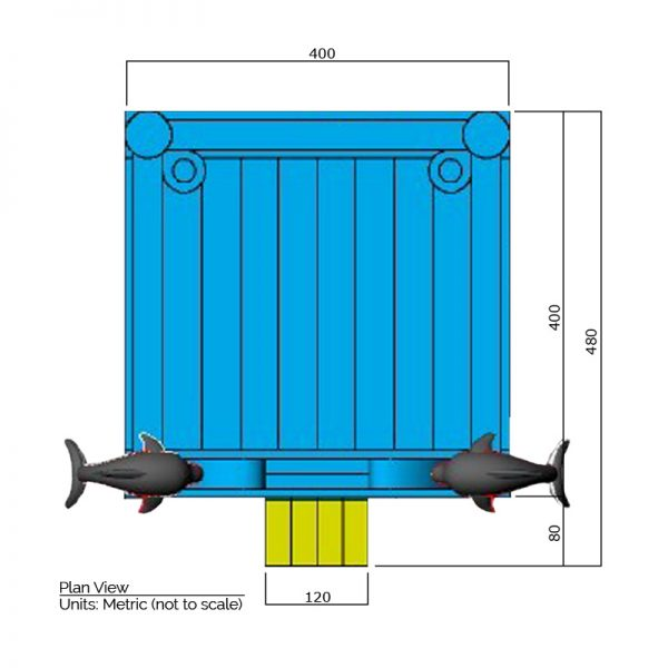 Dolphin bounce house plan view dimensions. Total length is 480 cm. and total width is 400 cm.