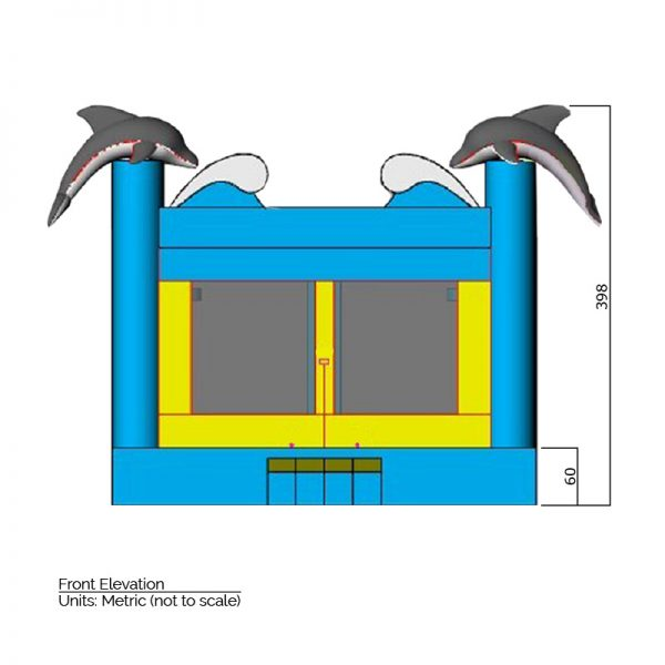 Dolphin Bounce House front elevation dimensions. Total height is 398 cm.
