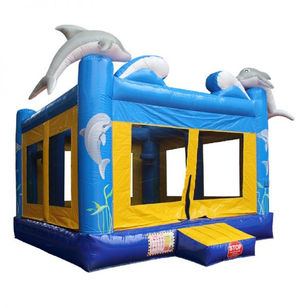 Blue and yellow Dolphin bouncy castle front view.