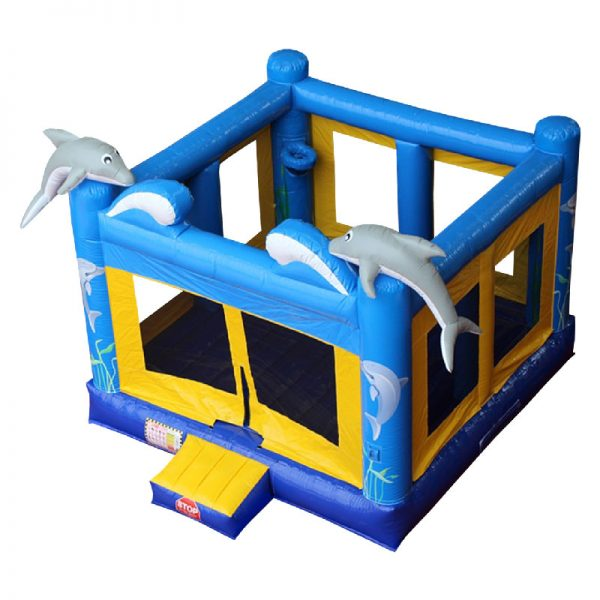 Blue and yellow Dolphin bouncy castle birds eye view.