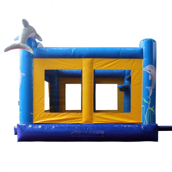 Blue and yellow Dolphin bouncy castle side view.