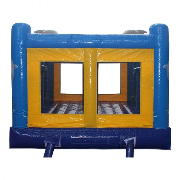 Blue and yellow Dolphin bouncy castle rear view.