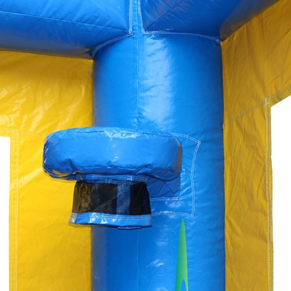 Blue bouncy castle basketball hoop with a black netting.