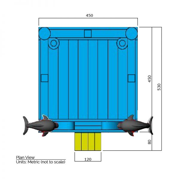 Dolphin bounce house plan view dimensions. Total length is 530 cm. and total width is 450 cm.