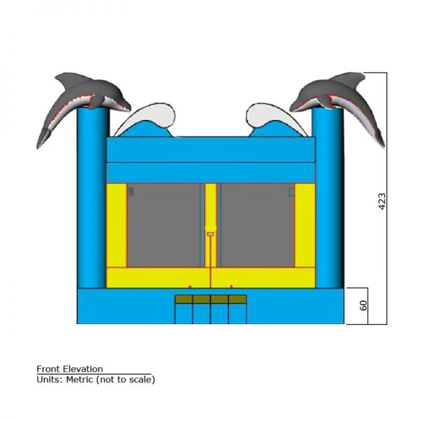 Dolphin Bounce House front elevation dimensions. Total height is 423 cm.