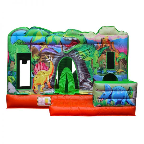 Front view of a green and orange Dino themed inflatable.