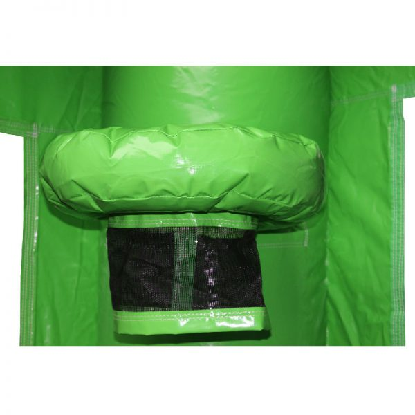 Green bouncy castle basketball hoop with a black netting.