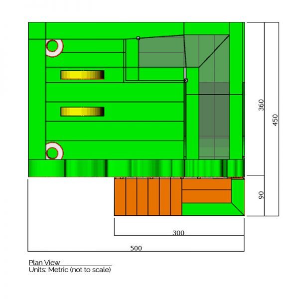 Dinosaurs combo bounce house plan view dimensions. Total length is 500 cm. and total width is 450 cm.