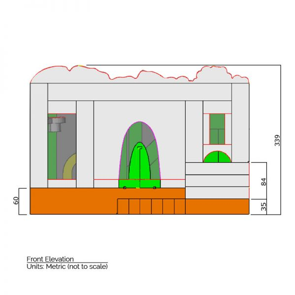Dinosaurs Bounce House front elevation dimensions. Total height is 339 cm.