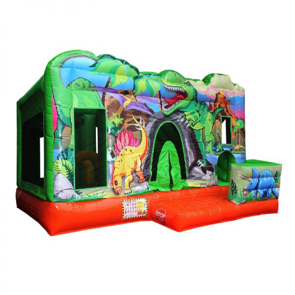 Perspective view of a green and orange Dino themed inflatable.