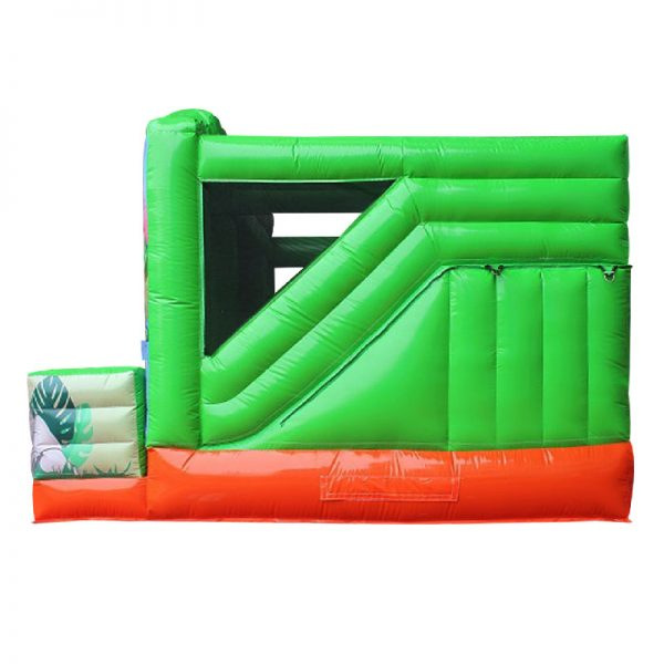 Side view of a green and orange inflatable.