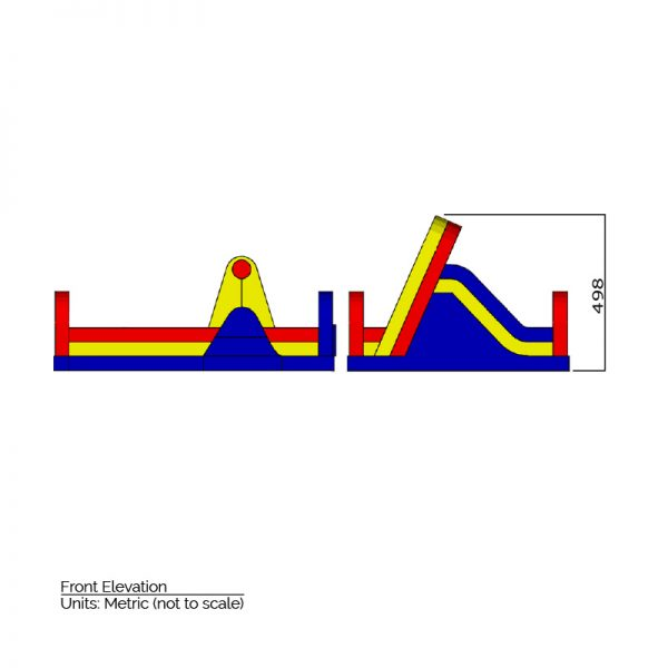 Inflatable Obstacle Course side elevation dimensions. Total height is 498 cm.