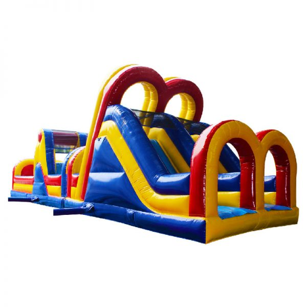 Yellow, blue and red Inflatable Obstacle Course in perspective view.