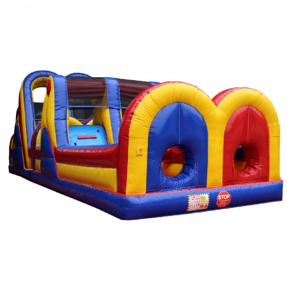 Yellow, blue and red Inflatable Obstacle Course.