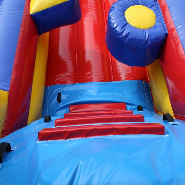 Climbing wall and obstacle closeups of an Inflatable Obstacle Course.