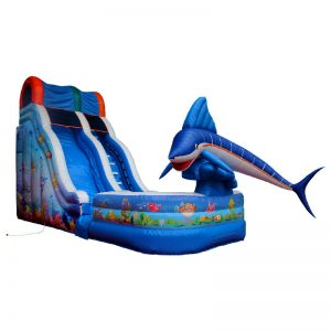 Inflatable water slide with a pool at the bottom of the slide.