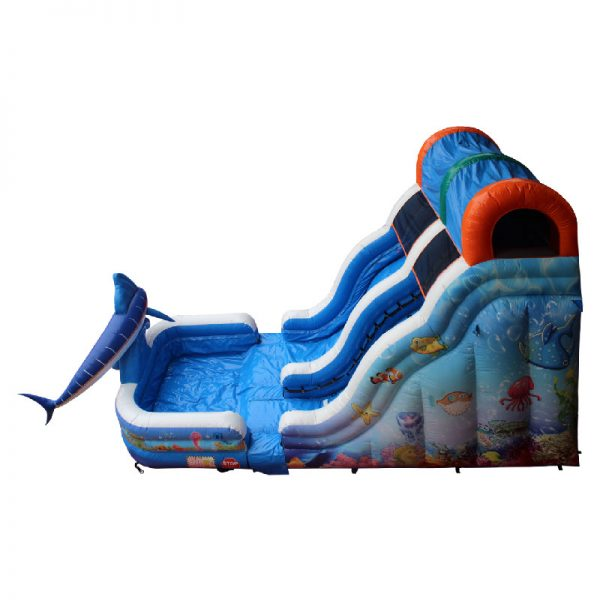 Birds eye view of an inflatable water slide with a pool.
