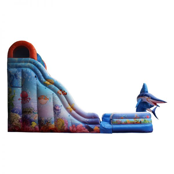 Inflatable water slide side view.
