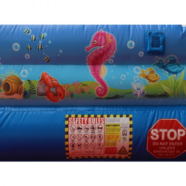 Water slide safety rules and a stop sign.