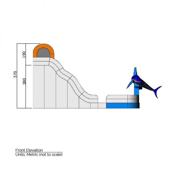Inflatable slide side elevation dimensions. Total height is 570 cm.