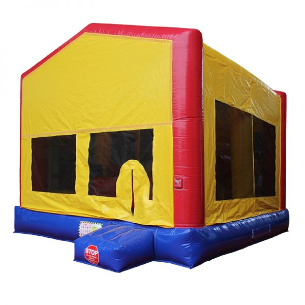 Front view of a red, blue and yellow inflatable.