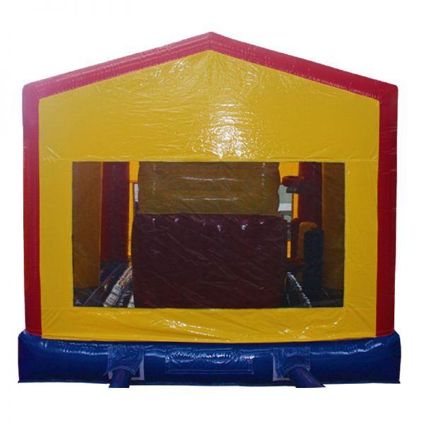 Rear view of a red, blue and yellow inflatable.