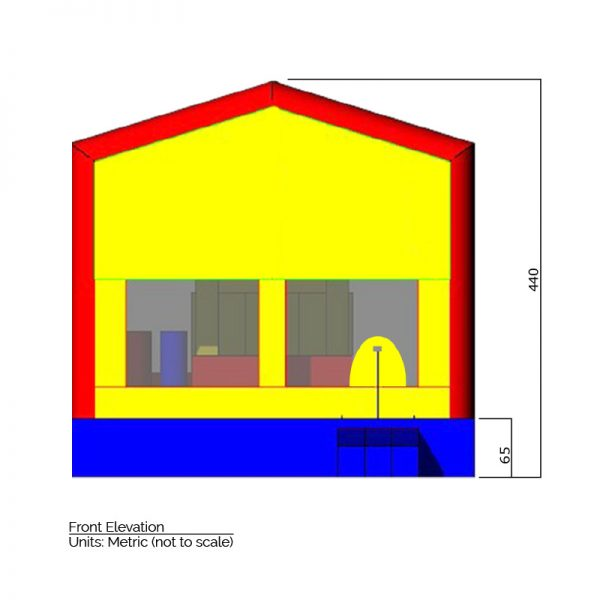 Interchangeable Theme Combination Bounce House front elevation dimensions. Total height is 440 cm.