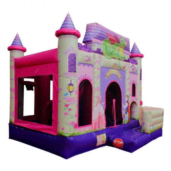 Perspective view of a Princess themed inflatable bouncy castle.
