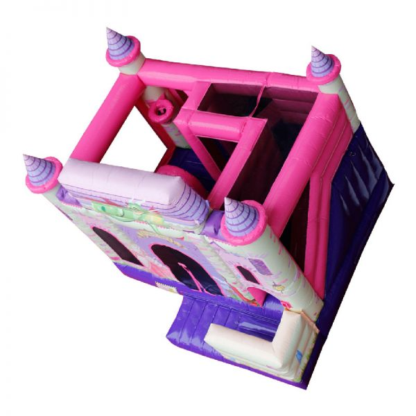 Birds eye view of a pink and purple Princess themed inflatable.
